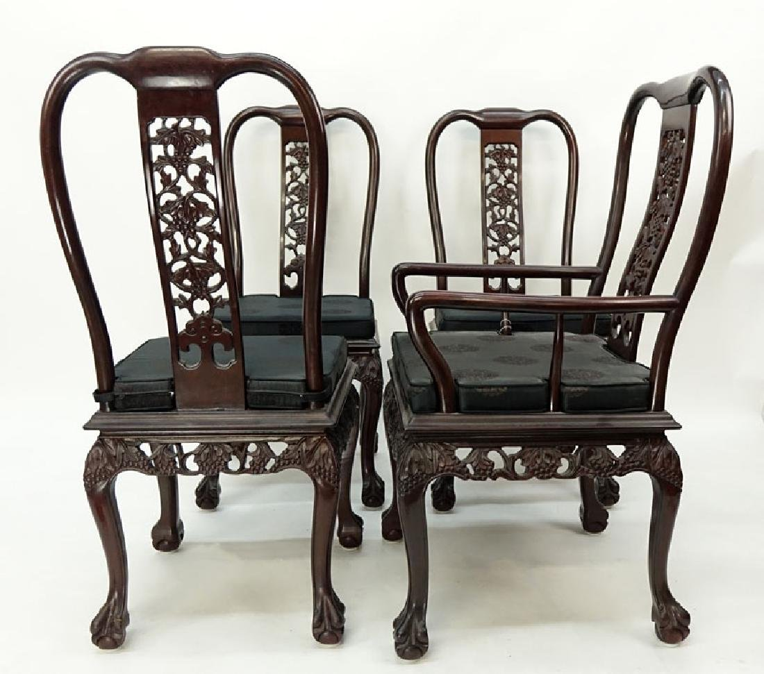 Set of Eight (8) Modern Chinese Carved Hardwood Chairs - 3