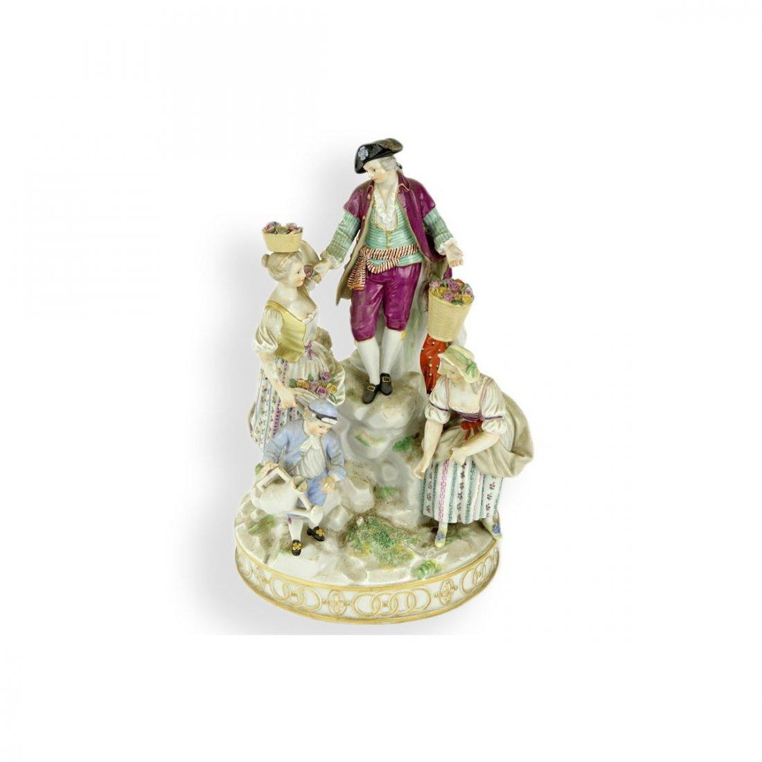 19th Century Meissen Hand Painted Porcelain Figural