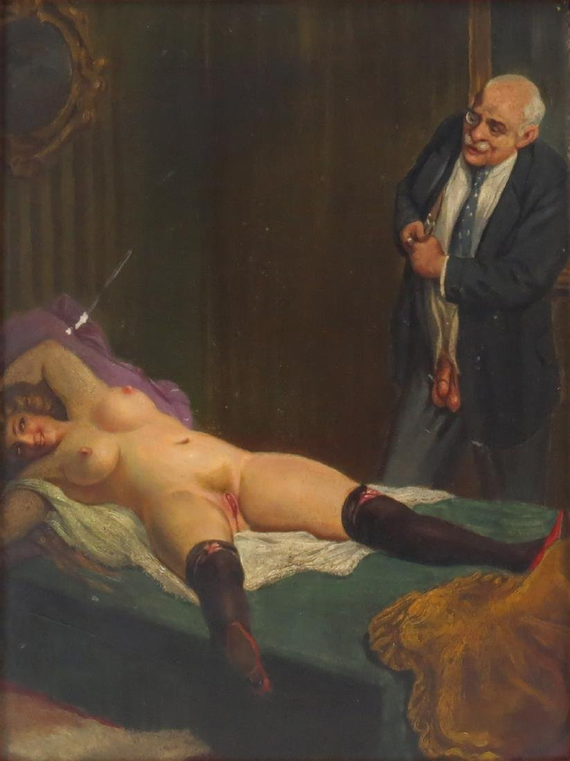 Early 20th Century Continental School Erotic Oil on - 2