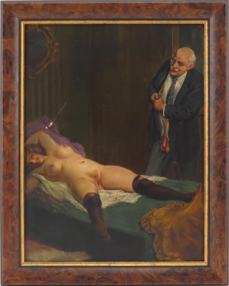 Early 20th Century Continental School Erotic Oil on - 3