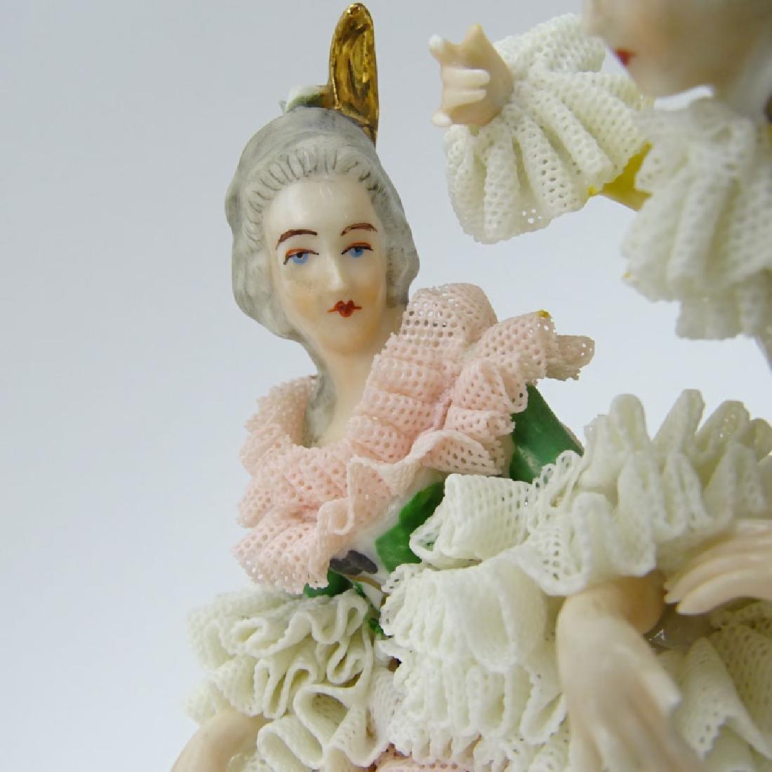 Dresden Porcelain Figural Group. Dresden back stamp on - 5