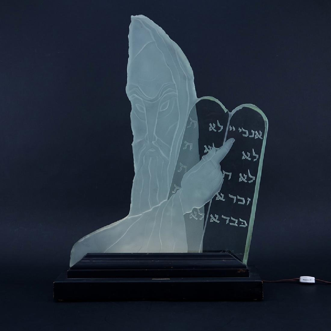 """Herman Perlman, American (20th C.) """"Moses"""" Etched Glass"""
