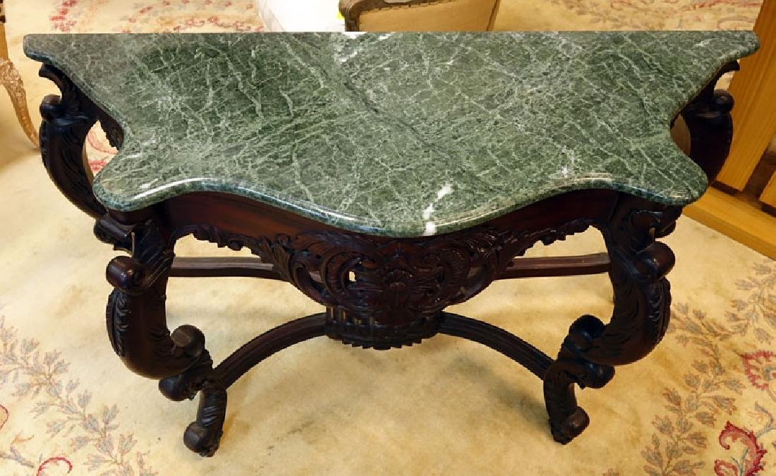 20th Century Carved Mahogany, Marble Top Console Table. - 2