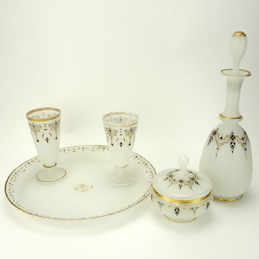 Five (5) Pieces Antique Opaline Glass Tabletop Items.