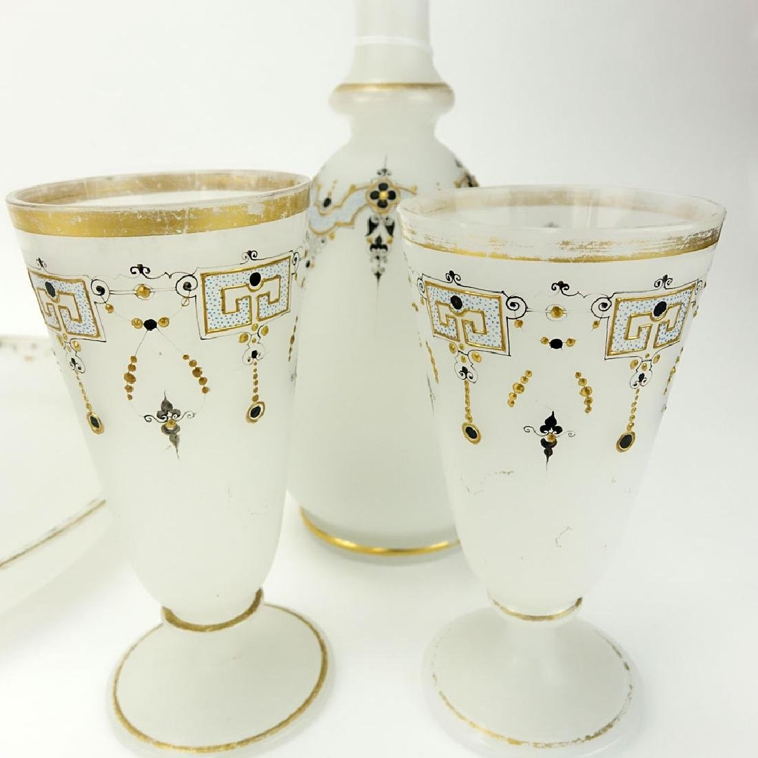 Five (5) Pieces Antique Opaline Glass Tabletop Items. - 2