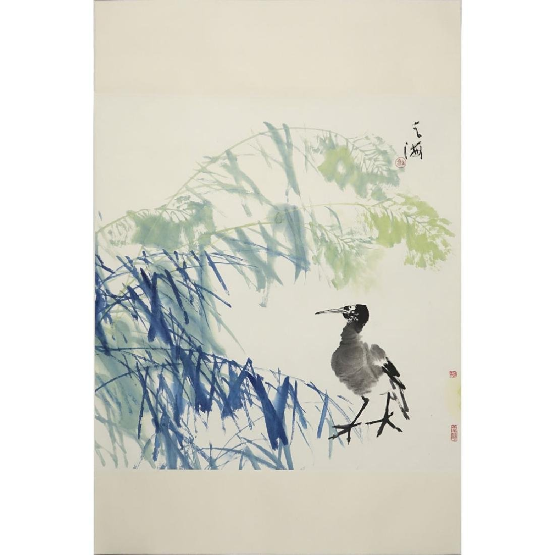 "20th Century Chinese Watercolor on Paper. ""Bird"""