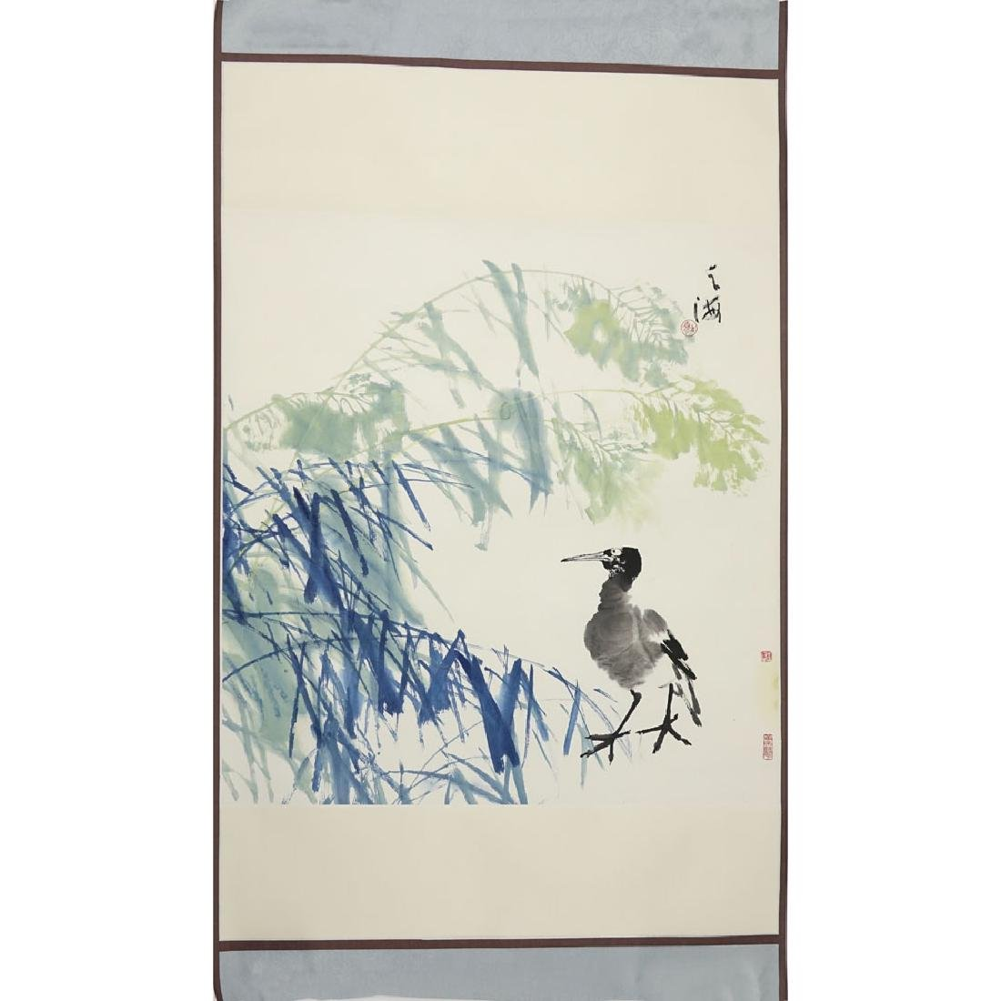 "20th Century Chinese Watercolor on Paper. ""Bird"" - 2"