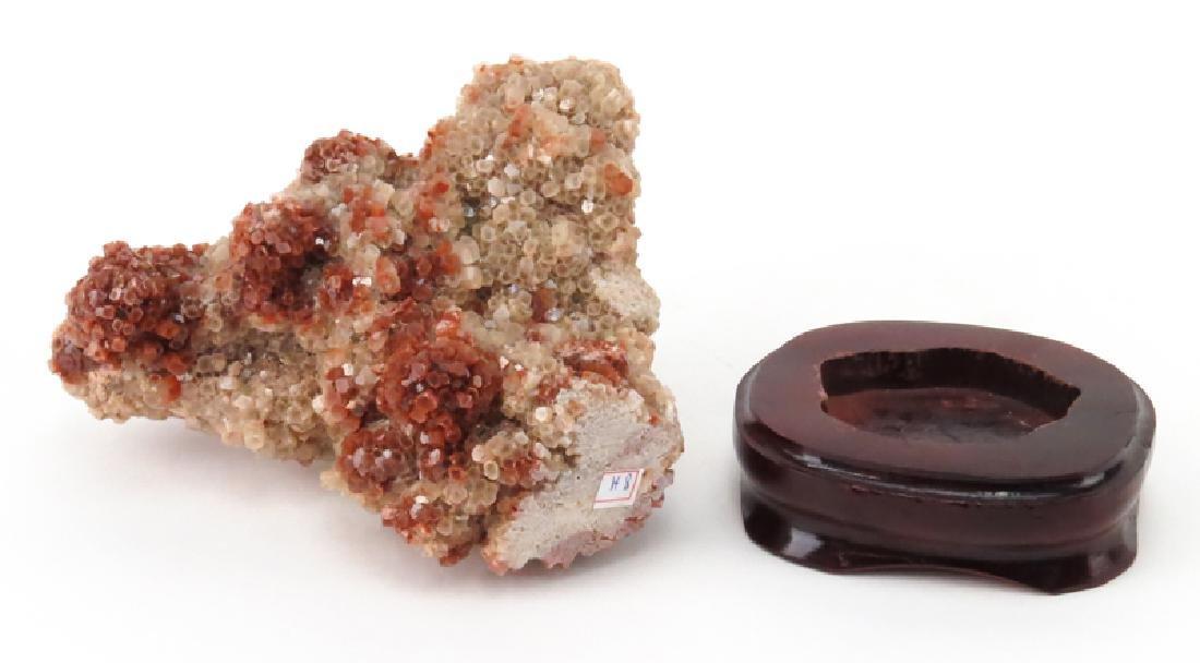 Vanadinite Mineral Specimen on Wooden Stand. Sphered - 2