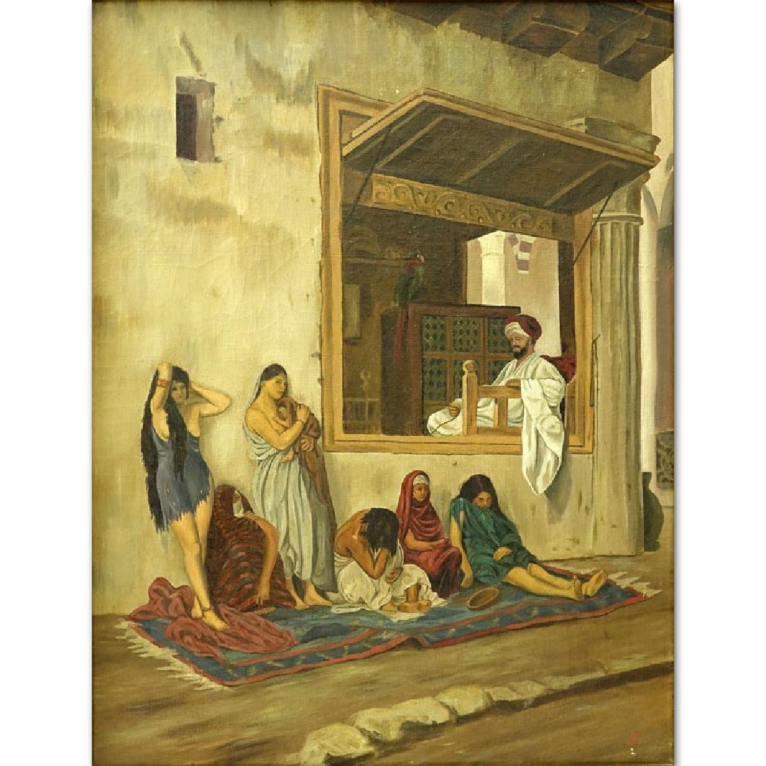 """20th Century Oil On Canvas """"Slave Market"""". Initialed"""