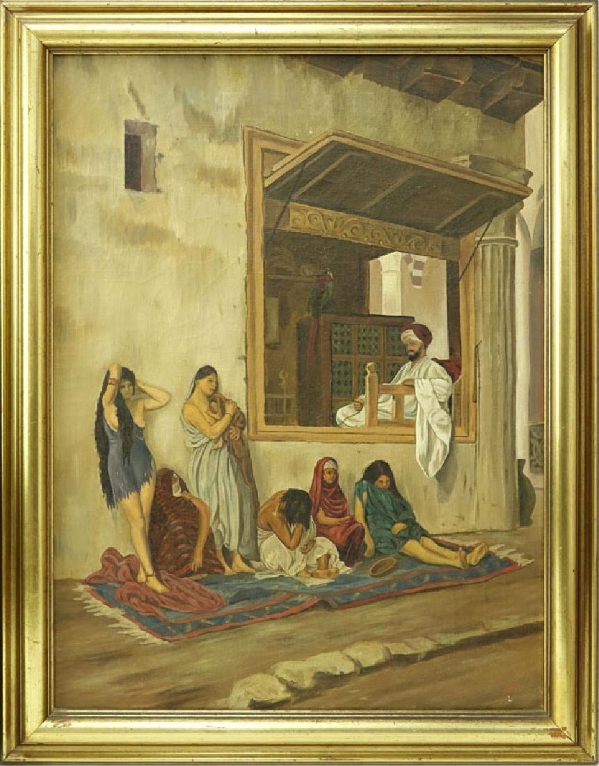 """20th Century Oil On Canvas """"Slave Market"""". Initialed - 2"""
