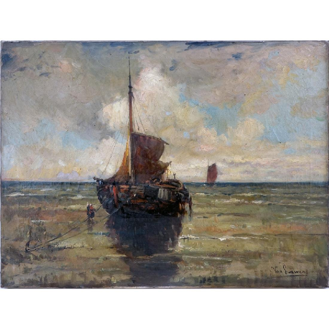 """19th Century Dutch School Oil On Canvas."""" Ships At"""
