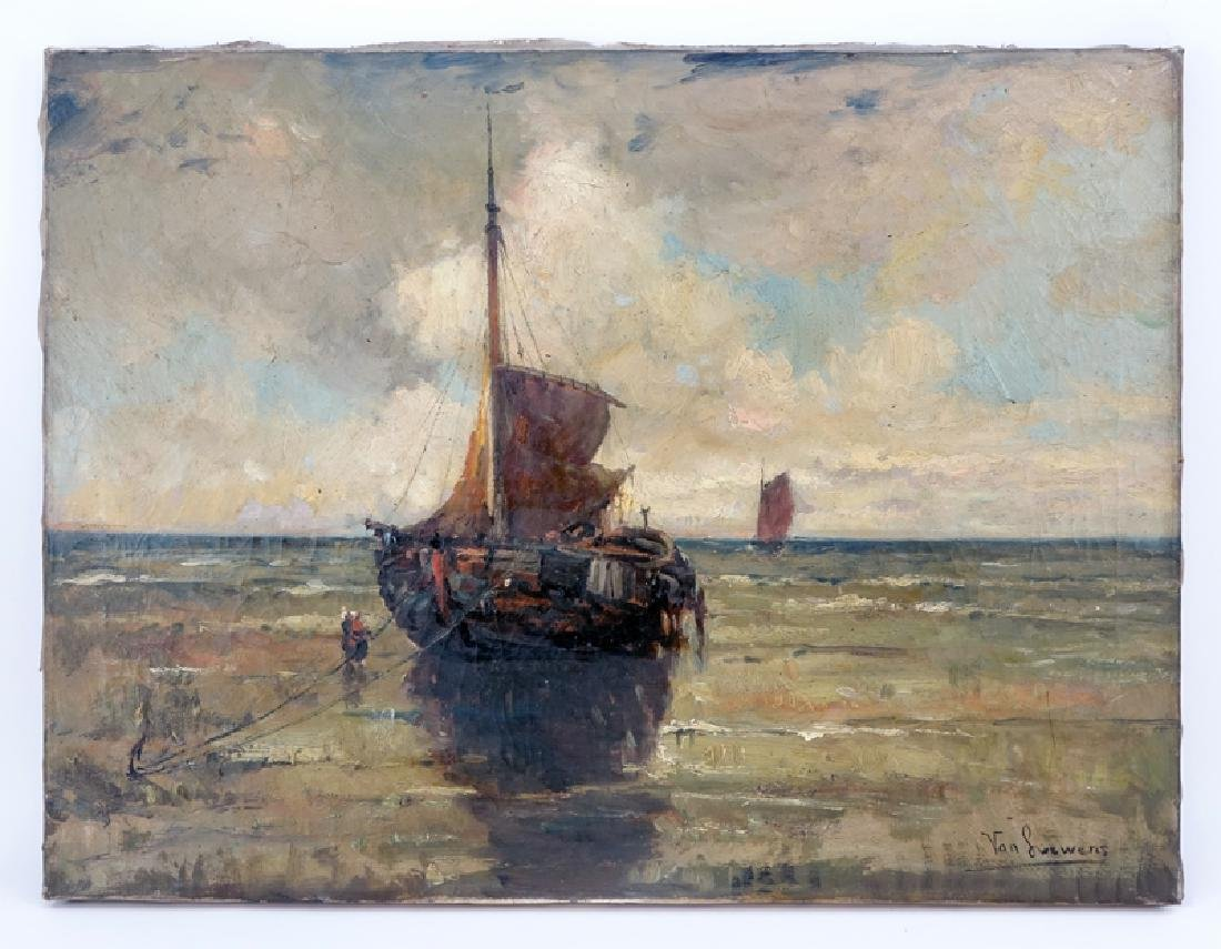 """19th Century Dutch School Oil On Canvas."""" Ships At - 2"""