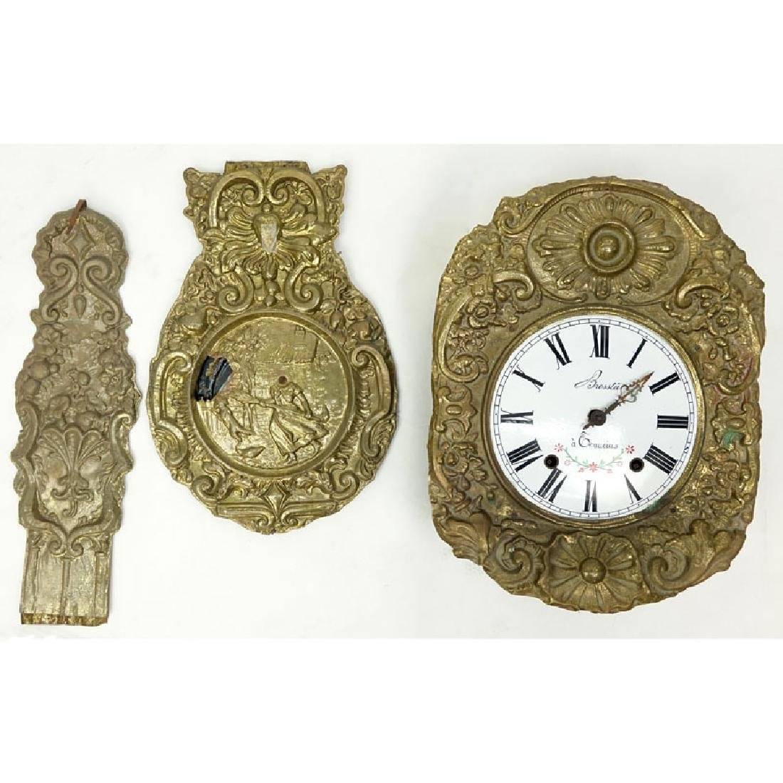 Antique French Brass High Relief Morbier Clock.