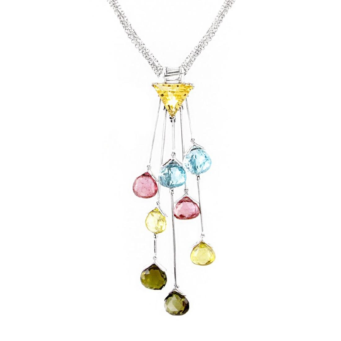 Contemporary Multi Gemstone and 18K Gold Necklace