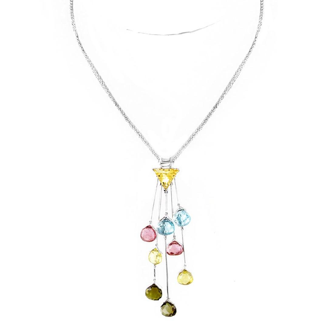 Contemporary Multi Gemstone and 18K Gold Necklace - 2
