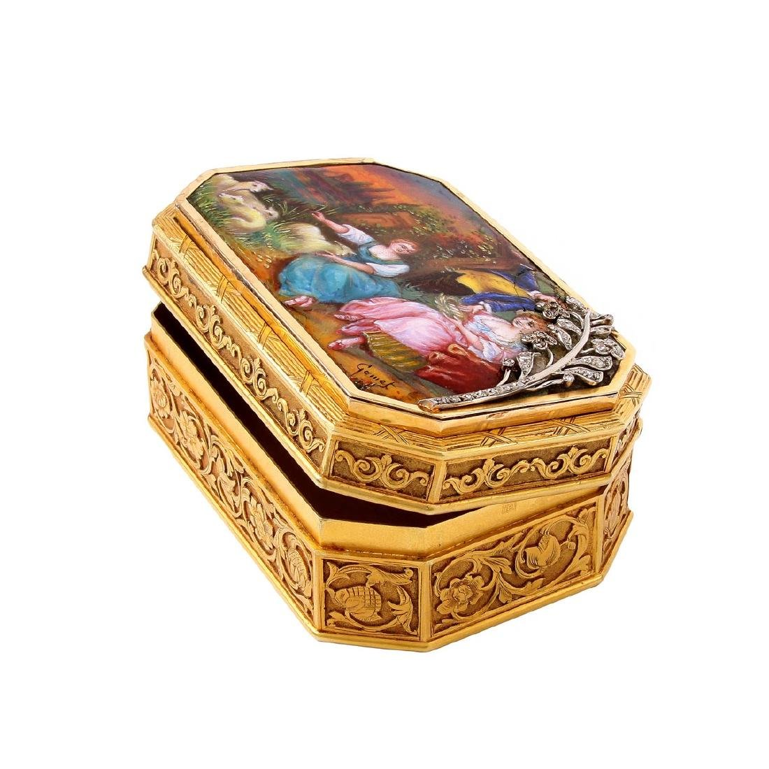 19th Century Continental Gold and Enamel Snuff Box