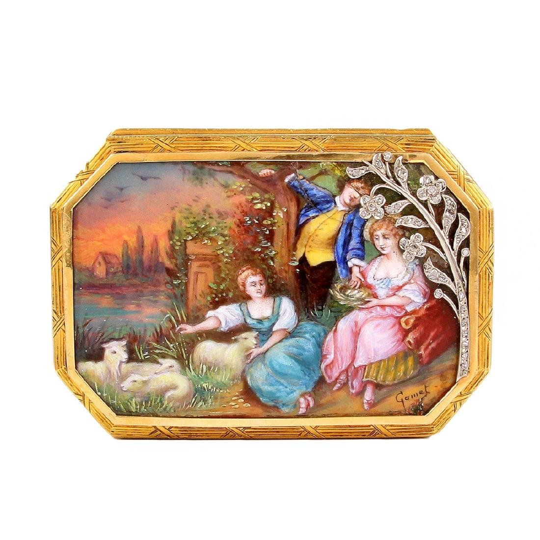 19th Century Continental Gold and Enamel Snuff Box - 2