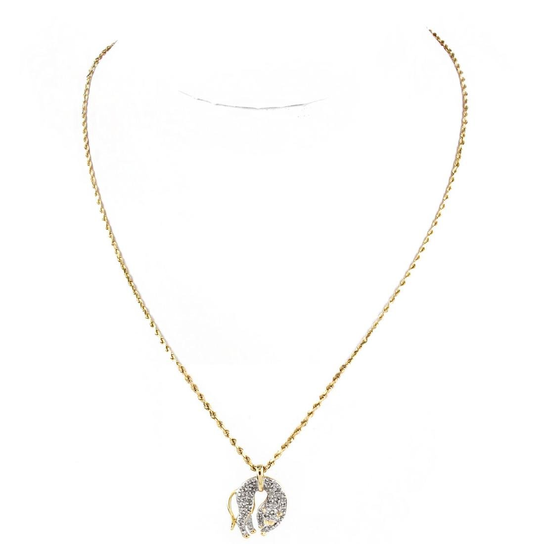 Diamond and 14K Gold Cat Pendant Necklace - 2