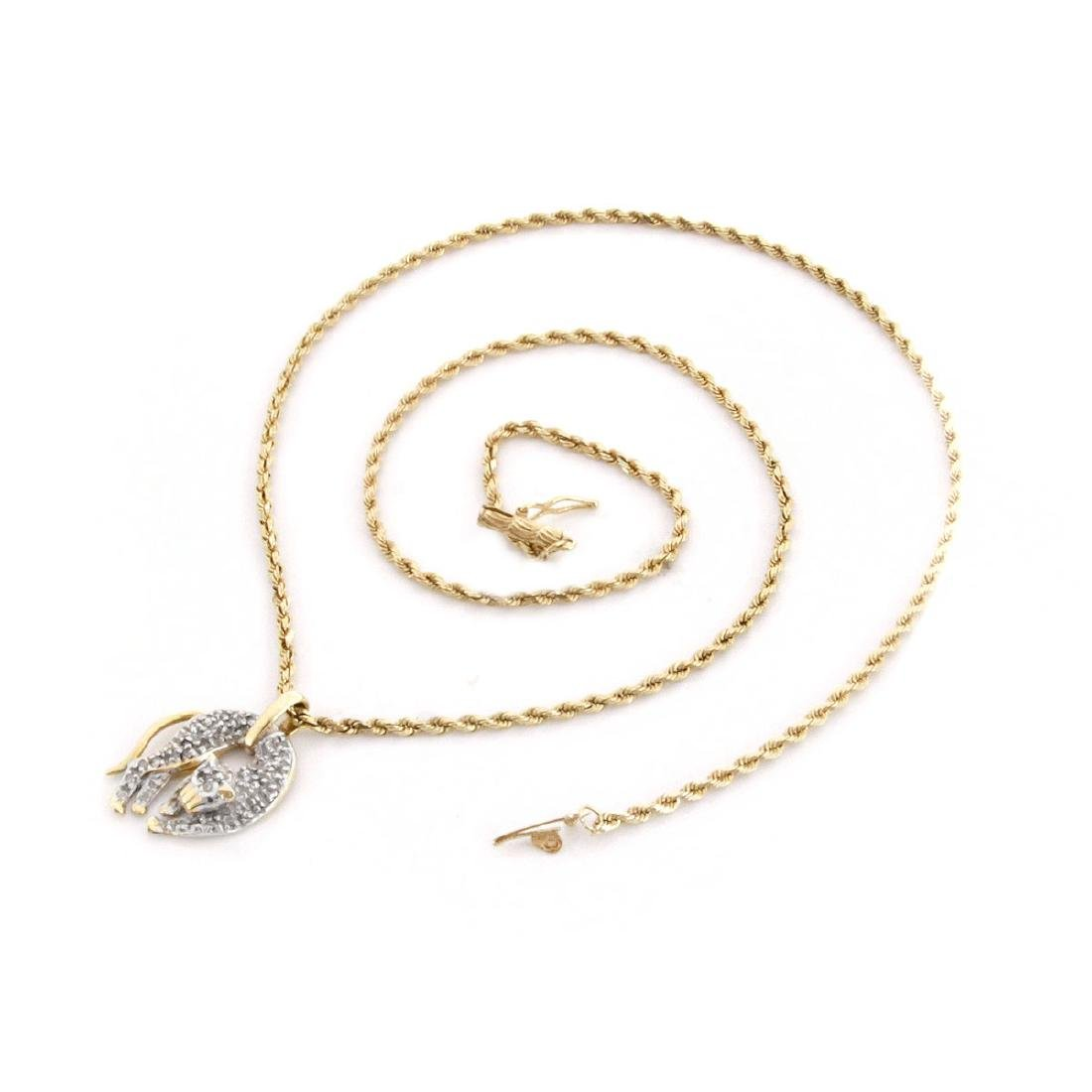 Diamond and 14K Gold Cat Pendant Necklace - 3