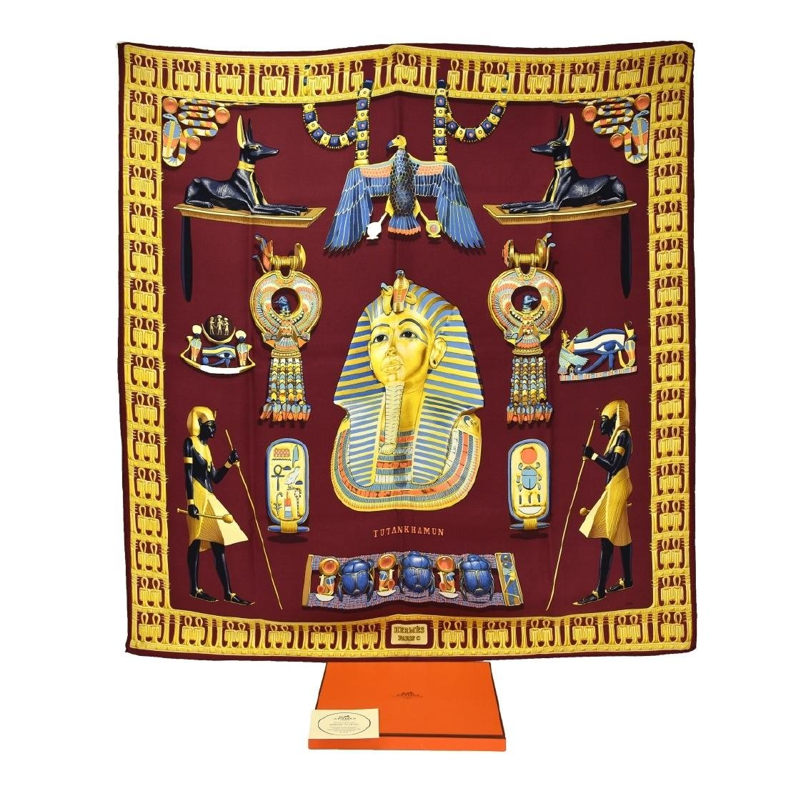 """Hermes Paris """"Tutankhamun"""" Silk Scarf"""