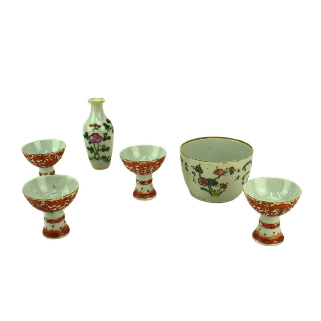 Grouping of Six (6) Chinese Porcelaian: 4 Egg Cups