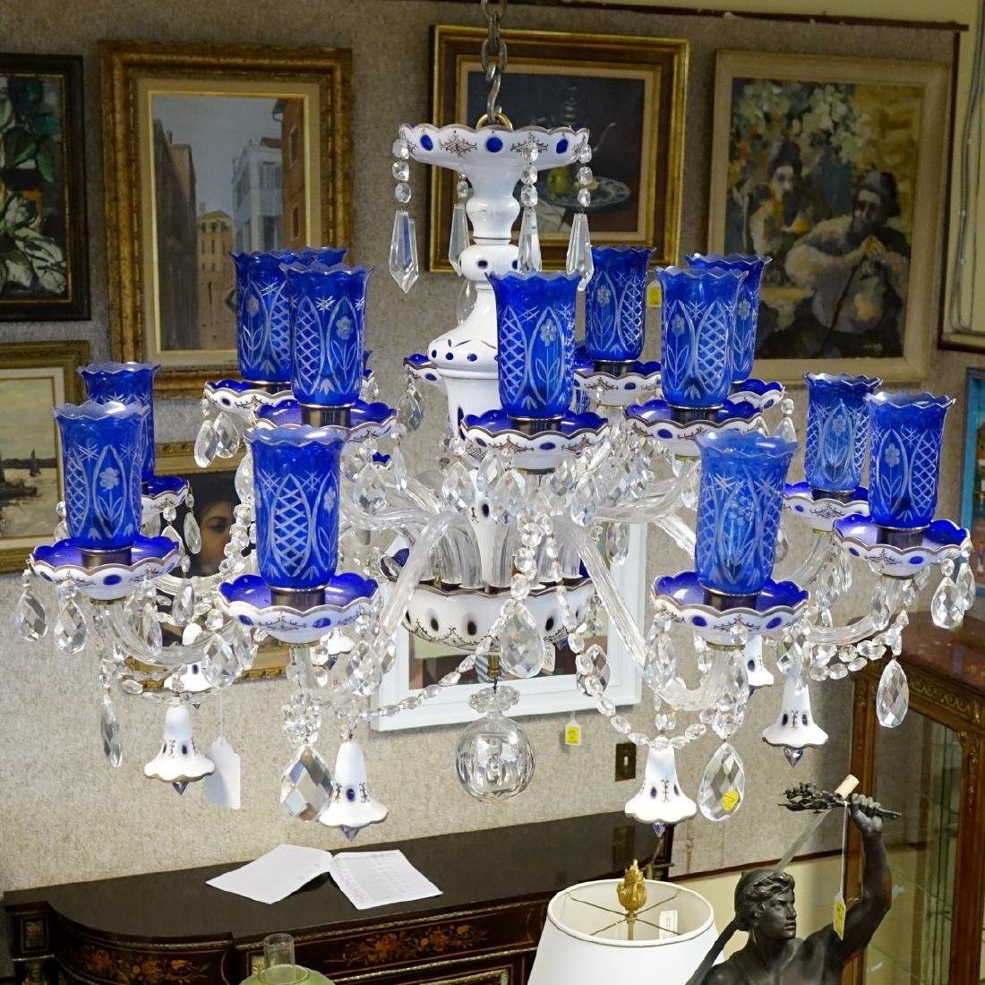 Vintage Bohemian Glass Chandelier - 3