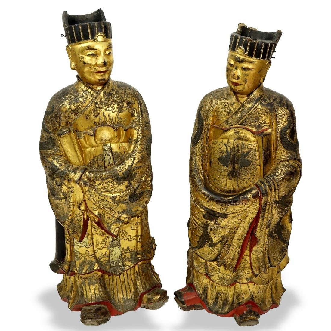 Chinese Daoist Gilt Lacquered Temple Figures