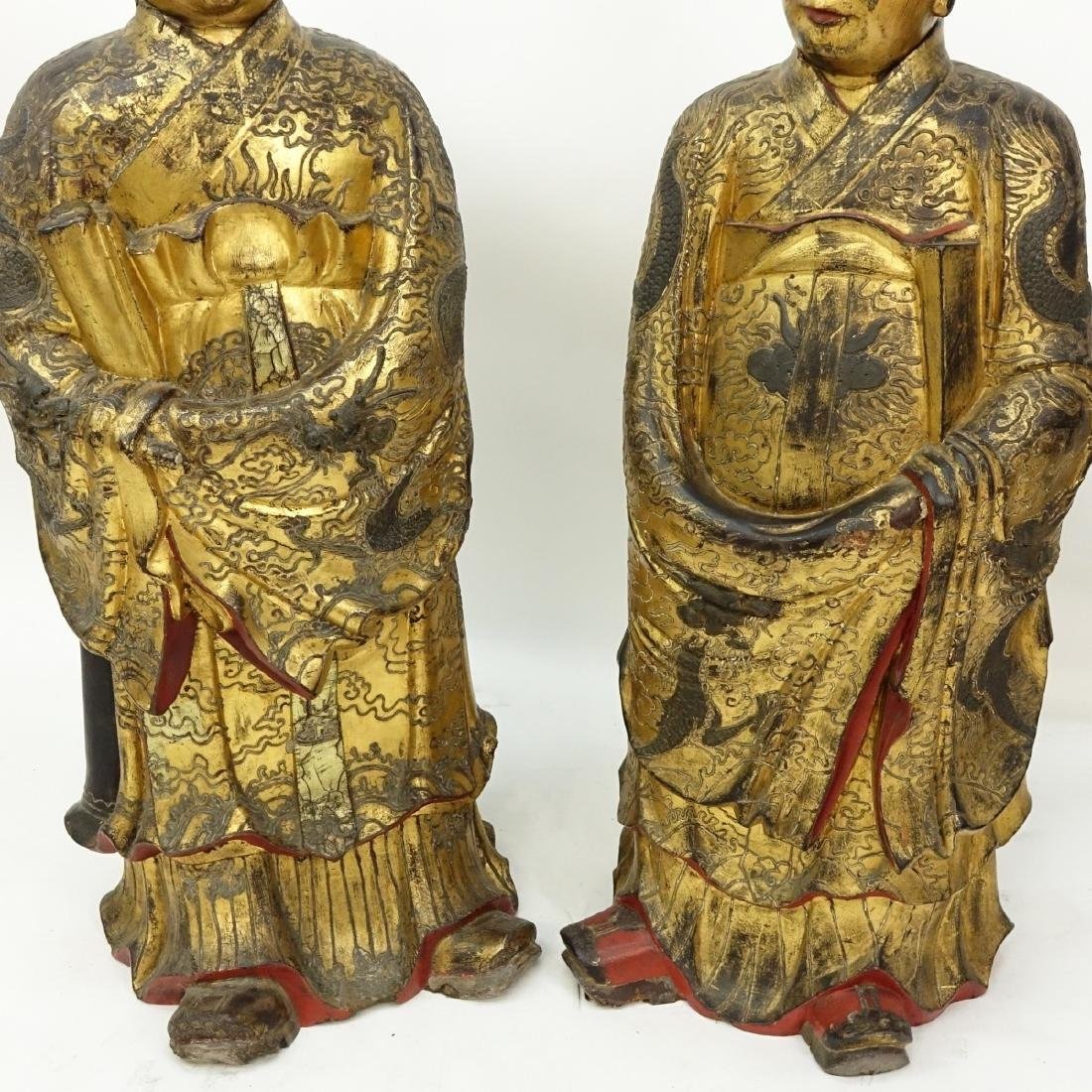 Chinese Daoist Gilt Lacquered Temple Figures - 4