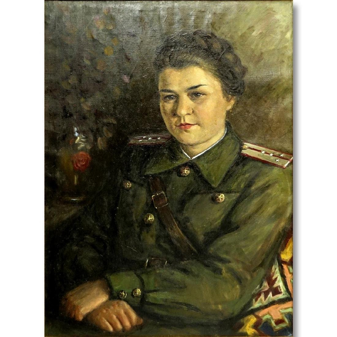 20th Century Russian Soviet Era Oil On Canvas