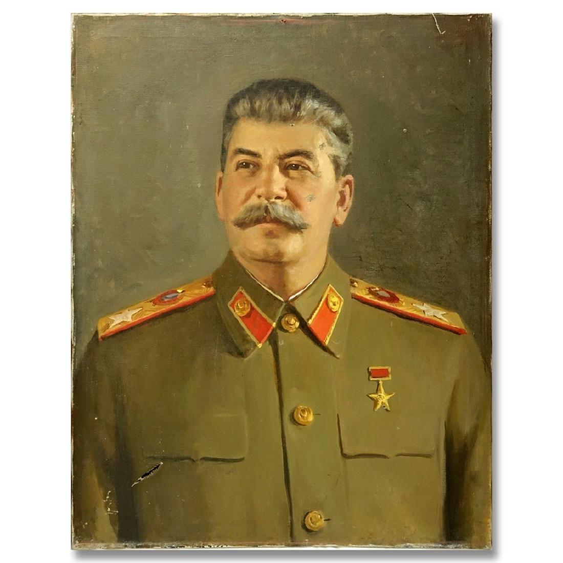 Vintage Oil On Canvas, Portrait Of Joseph Stalin