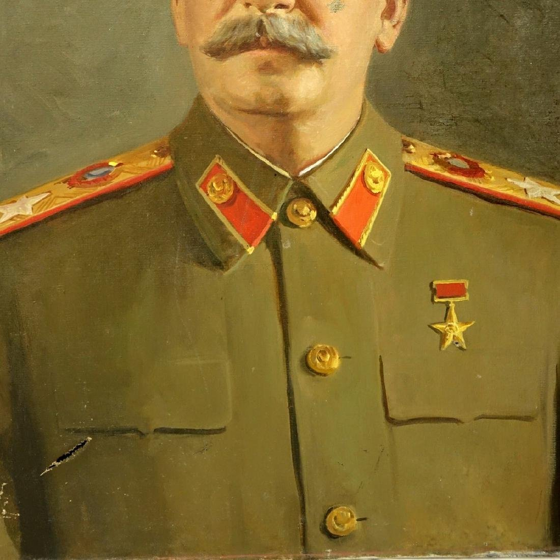 Vintage Oil On Canvas, Portrait Of Joseph Stalin - 2