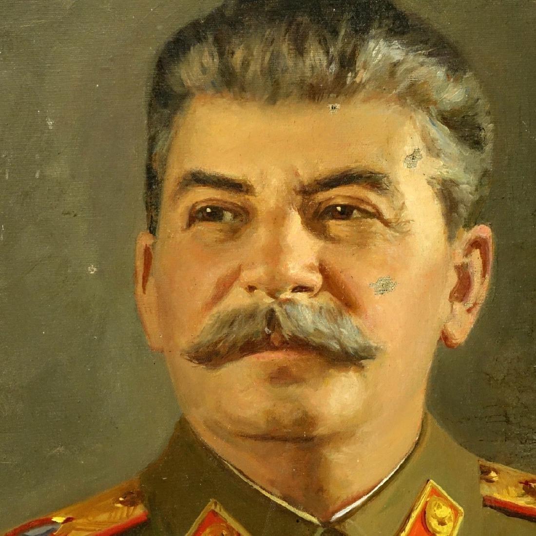 Vintage Oil On Canvas, Portrait Of Joseph Stalin - 4