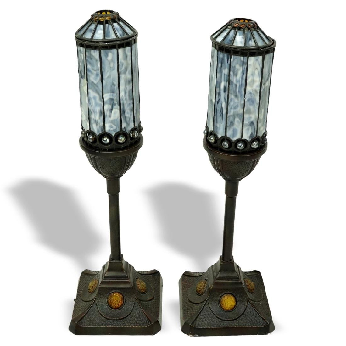 Pair Of Quoizel Inc Lamps With Leaded Glass Shades