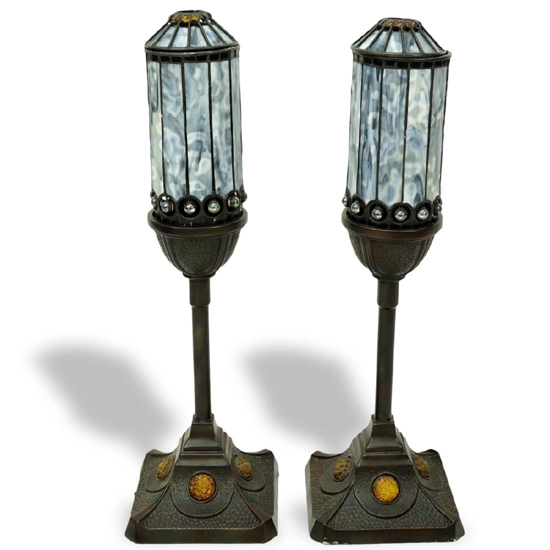 Pair Of Quoizel Inc Lamps With Leaded Glass Shades - 2