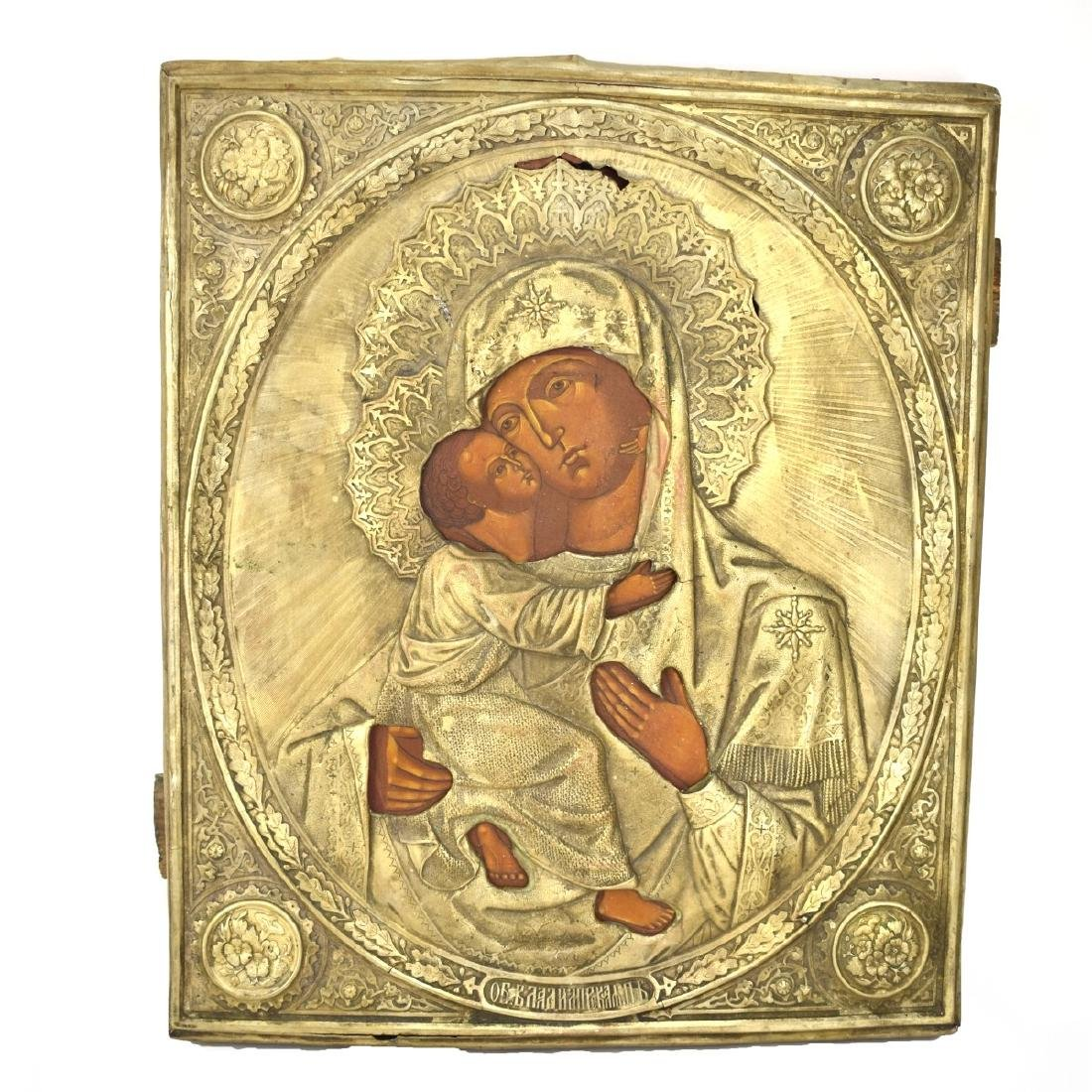 19/20th Century Russian Icon Depicting  Madonna