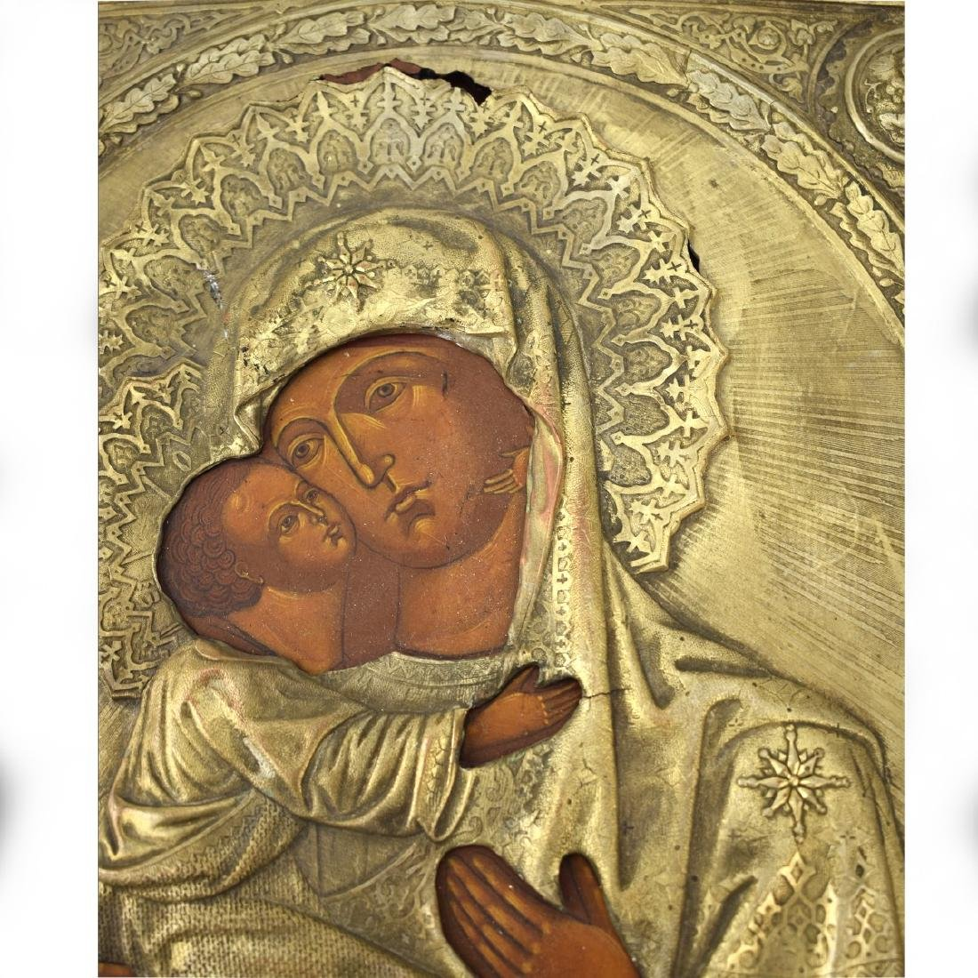 19/20th Century Russian Icon Depicting  Madonna - 2