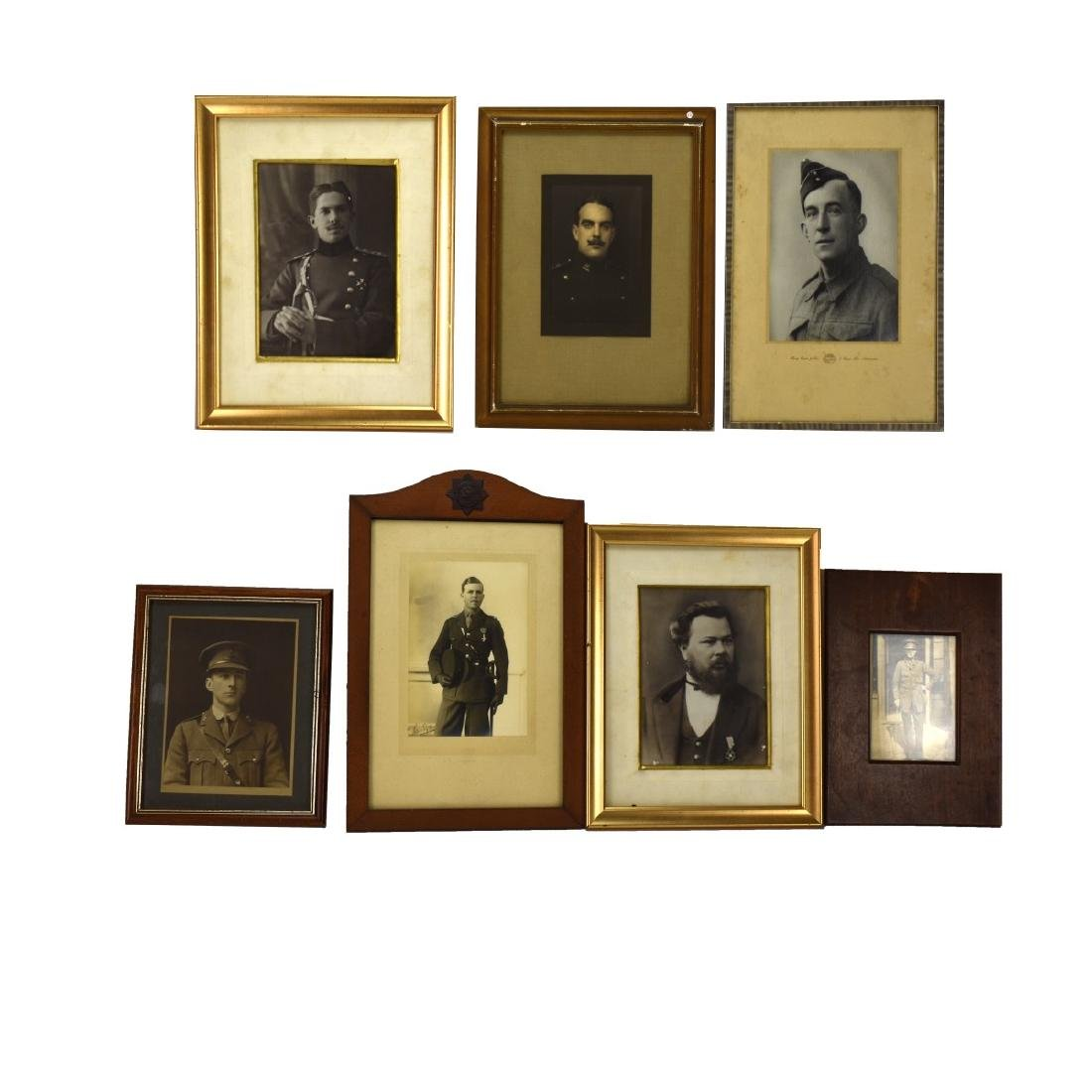 Collection Of Seven (7) Framed Old Military Photos