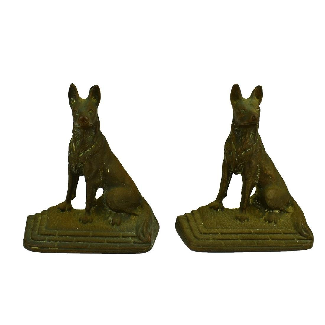 Pair Vintage Bronze Dog Bookends