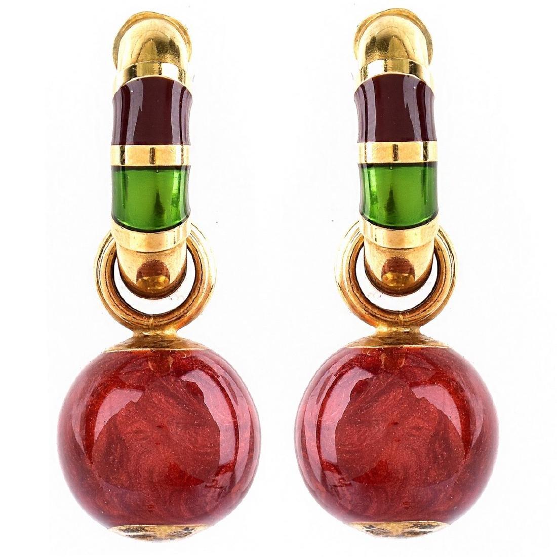 Vintage Italian 18K Gold and Enamel Earrings