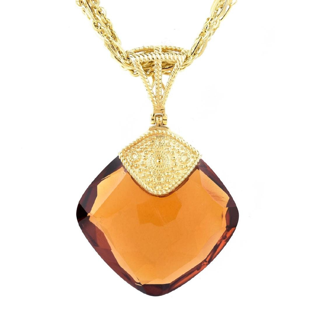 Italian Citrine and 14K Gold Necklace