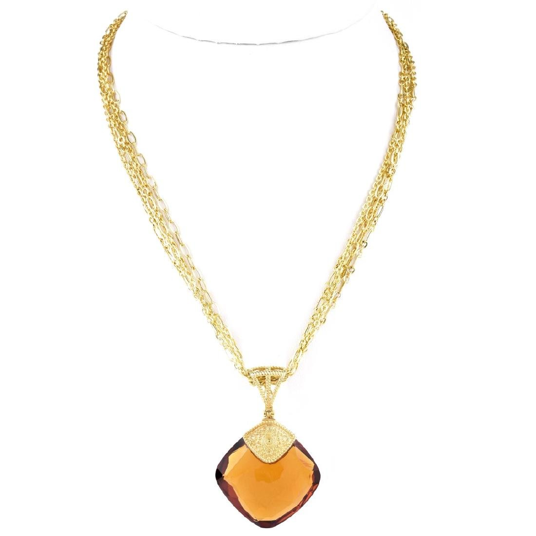 Italian Citrine and 14K Gold Necklace - 2