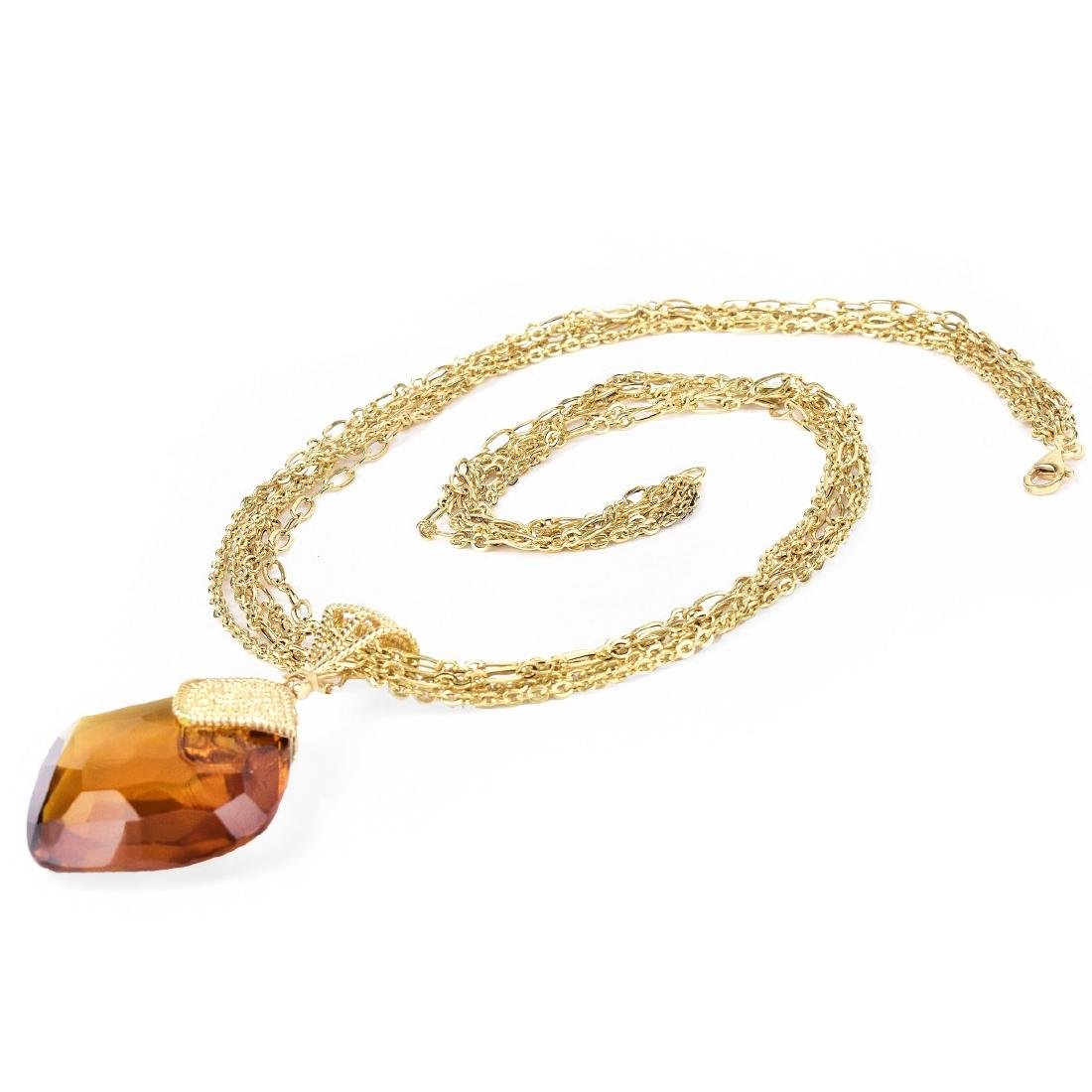 Italian Citrine and 14K Gold Necklace - 3