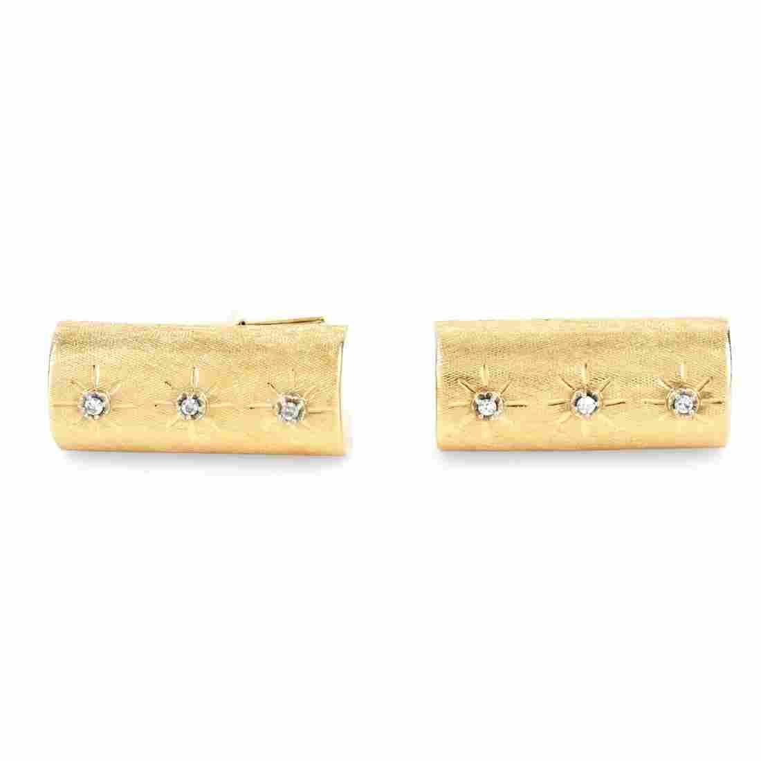 Men's Vintage 14K Gold and Diamond Cufflinks