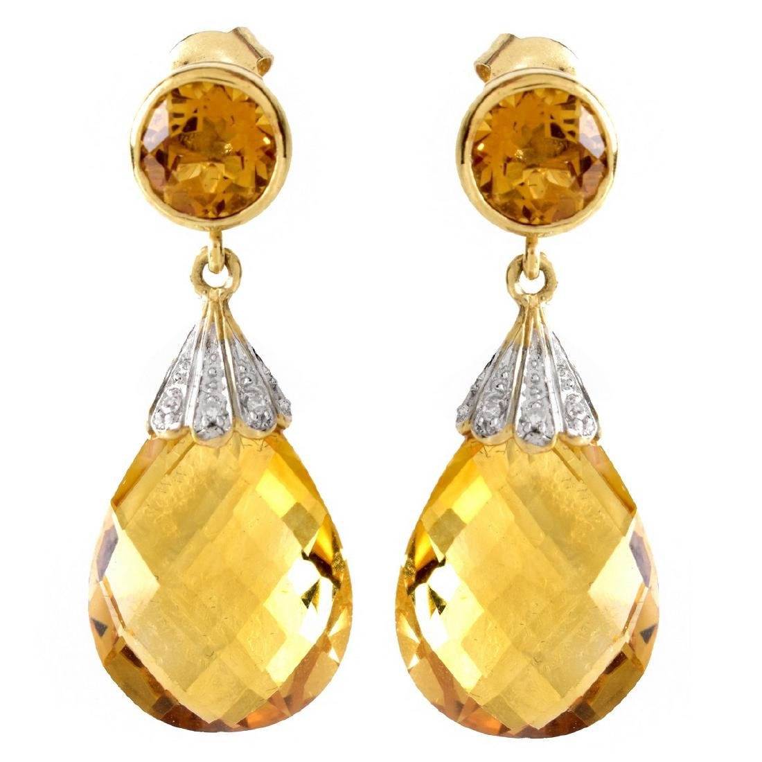 Citrine, Diamond and 14K Gold Pendant Earrings