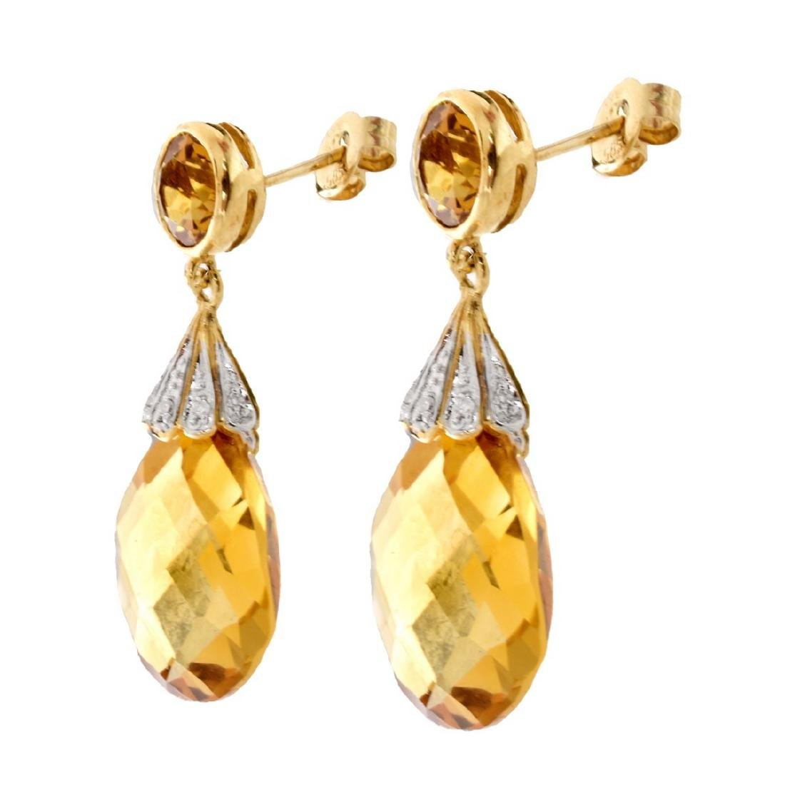 Citrine, Diamond and 14K Gold Pendant Earrings - 2