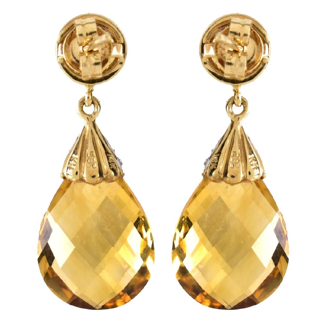 Citrine, Diamond and 14K Gold Pendant Earrings - 3