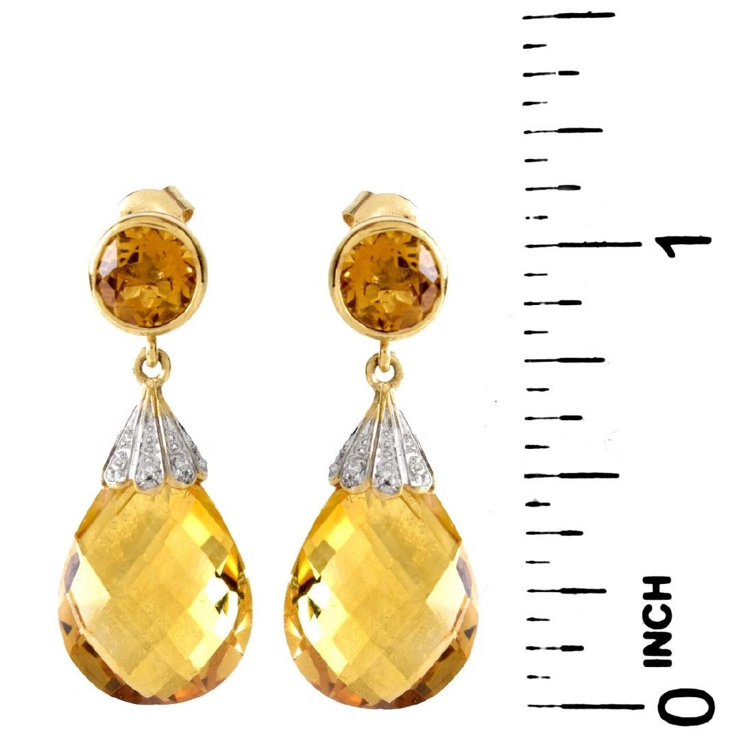 Citrine, Diamond and 14K Gold Pendant Earrings - 4