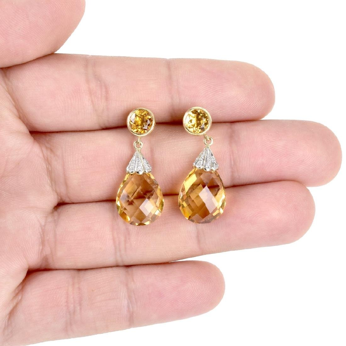 Citrine, Diamond and 14K Gold Pendant Earrings - 5