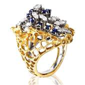 Diamond Sapphire and 14K Gold Ring