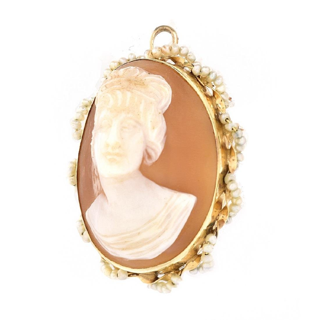 14K Gold and Seed Pearl Cameo Pendant Brooch - 2